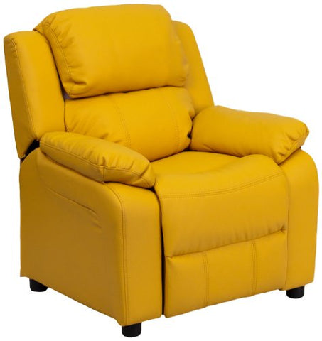 Deluxe Heavily Padded Contemporary Yellow Vinyl Kids Recliner with Storage Arms BT-7985-KID-YEL-GG by Flash Furniture - Peazz Furniture