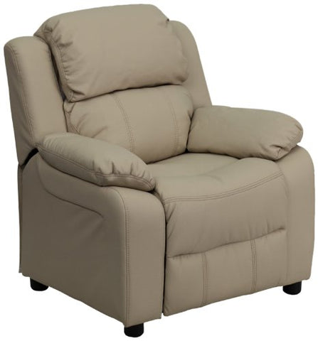 Deluxe Heavily Padded Contemporary Beige Vinyl Kids Recliner with Storage Arms BT-7985-KID-BGE-GG by Flash Furniture - Peazz Furniture