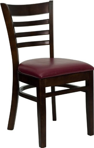 HERCULES Series Walnut Finished Ladder Back Wooden Restaurant Chair with Burgundy Vinyl Seat XU-DGW0005LAD-WAL-BURV-GG by Flash Furniture - Peazz Furniture