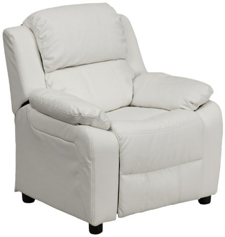 Deluxe Heavily Padded Contemporary White Vinyl Kids Recliner with Storage Arms BT-7985-KID-WHITE-GG by Flash Furniture - Peazz Furniture