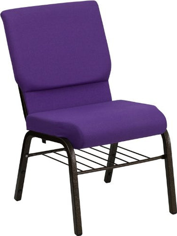HERCULES Series 18.5'' Wide Purple Church Chair with 4.25'' Thick Seat Book Rack - Gold Vein Frame XU-CH-60096-PU-BAS-GG by Flash Furniture - Peazz Furniture
