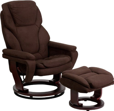 Flash Furniture BT-70222-MIC-FLAIR-GG Contemporary Brown Microfiber Recliner and Ottoman with Swiveling Mahogany Wood Base - Peazz Furniture