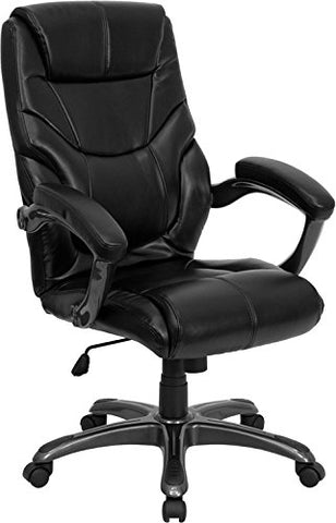 High Back Black Leather Overstuffed Executive Office Chair GO-724H-BK-LEA-GG by Flash Furniture - Peazz Furniture