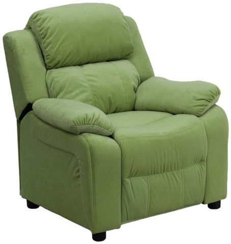 Deluxe Heavily Padded Contemporary Avocado Microfiber Kids Recliner with Storage Arms BT-7985-KID-MIC-AVO-GG by Flash Furniture - Peazz Furniture