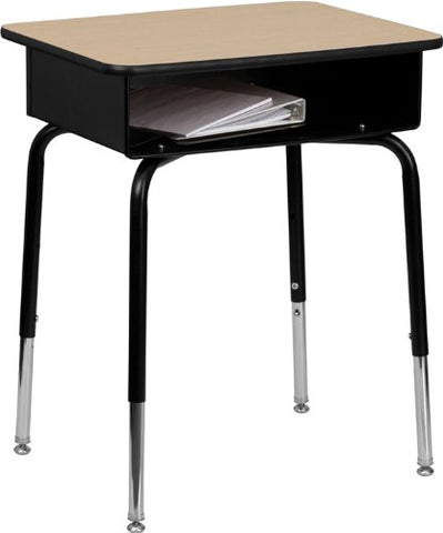 Student Desk with Open Front Metal Book Box FD-DESK-GG by Flash Furniture - Peazz Furniture