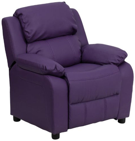 Deluxe Heavily Padded Contemporary Purple Vinyl Kids Recliner with Storage Arms BT-7985-KID-PUR-GG by Flash Furniture - Peazz Furniture