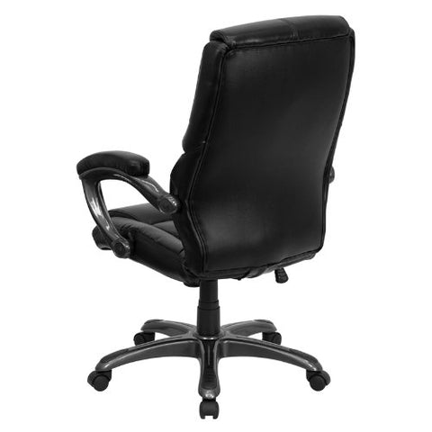 high back black leather overstuffed executive office chair go 724h bk