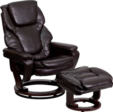 Flash Furniture BT-70222-BRN-FLAIR-GG Contemporary Brown Leather Recliner and Ottoman with Swiveling Mahogany Wood Base - Peazz Furniture