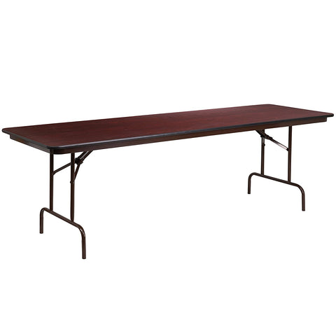 Flash Furniture YT-3096-MEL-WAL-GG 30'' x 96'' Rectangular Walnut Melamine Laminate Folding Banquet Table - Peazz Furniture