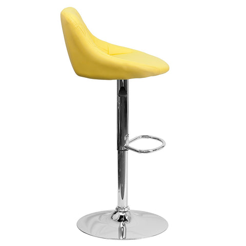 Flash Furniture CH-82028A-YEL-GG Contemporary Yellow Vinyl Bucket Seat Adjustable Height Bar Stool with Chrome Base