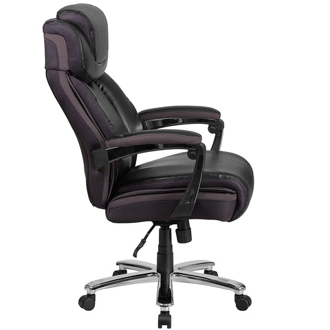 HERCULES Series 500 lb  Capacity Big & Tall Black Leather Executive Swivel  Office Chair with Height Adjustable Headrest