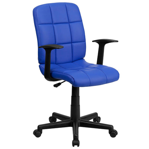 Flash Furniture GO-1691-1-BLUE-A-GG Mid-Back Blue Quilted Vinyl Task Chair with Nylon Arms - Peazz Furniture