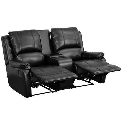 Flash Furniture BT-70295-2-BK-GG Black Leather Pillowtop 2-Seat Home Theater Recliner with Storage Console - Peazz Furniture