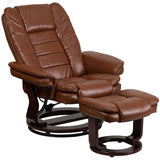 Flash Furniture BT-7818-VIN-GG Contemporary Brown Vintage Leather Recliner and Ottoman with Swiveling Mahogany Wood Base