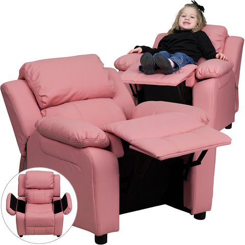 Deluxe Heavily Padded Contemporary Pink Vinyl Kids Recliner With Stora