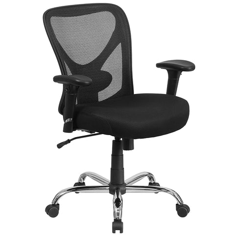Flash Furniture GO-2032-GG HERCULES Series 400 lb. Capacity Big & Tall Black Mesh Office Chair with Height Adjustable Back and Arms - Peazz Furniture