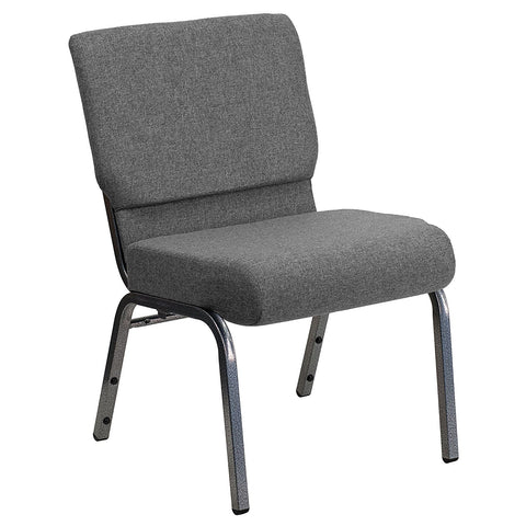 Flash Furniture XU-CH0221-GY-SV-GG HERCULES Series 21'' Extra Wide Gray Stacking Church Chair with 3.75'' Thick Seat - Silver Vein Frame - FlashFurnitureStore