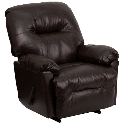 Flash Furniture AM-C9350-9075-GG Contemporary Bentley Brown Leather Chaise Rocker Recliner - Peazz Furniture