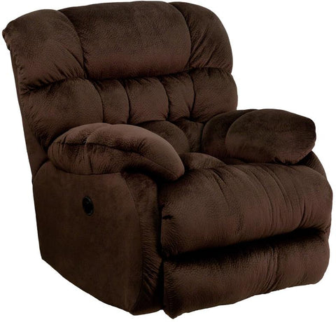 Flash Furniture AM-P9460-5980-GG Contemporary Sharpei Chocolate Microfiber Power Recliner with Push Button - Peazz Furniture