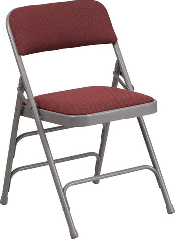 Flash Furniture AW-MC309AF-BG-GG HERCULES Series Curved Triple Braced & Double Hinged Burgundy Patterned Fabric Upholstered Metal Folding Chair - Peazz Furniture