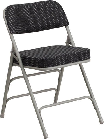 Flash Furniture AW-MC320AF-BK-GG HERCULES Series Premium Curved Triple Braced & Double Hinged Black Pin-Dot Fabric Upholstered Metal Folding Chair - Peazz Furniture - 1