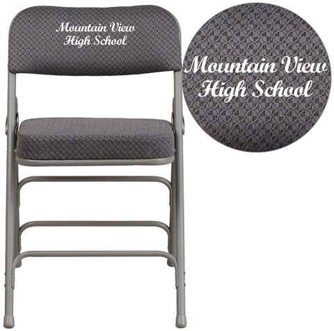 Flash Furniture AW-MC320AF-GRY-EMB-GG Embroidered HERCULES Series Premium Curved Triple Braced & Quad Hinged Gray Fabric Upholstered Metal Folding Chair - Peazz Furniture