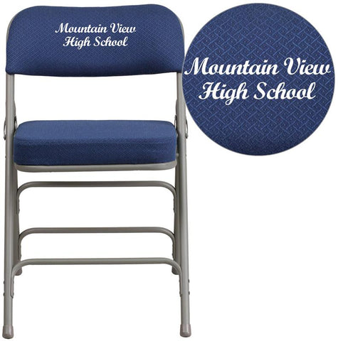 Flash Furniture AW-MC320AF-NVY-EMB-GG Embroidered HERCULES Series Premium Curved Triple Braced & Double Hinged Navy Fabric Upholstered Metal Folding Chair - Peazz Furniture