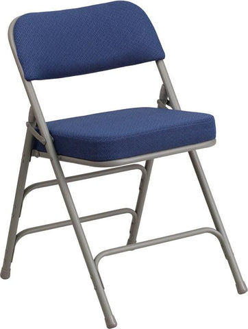 Flash Furniture AW-MC320AF-NVY-GG HERCULES Series Premium Curved Triple Braced & Double Hinged Navy Fabric Upholstered Metal Folding Chair - Peazz Furniture - 1