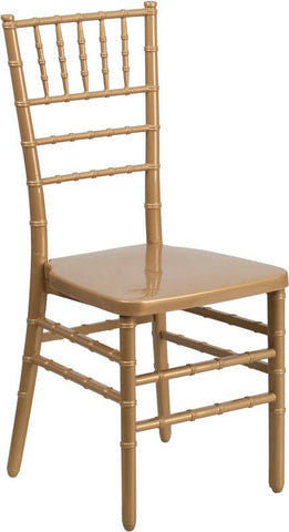 Flash Furniture BH-GOLD-GG HERCULES INDESTRUCTO Series Gold Resin Stacking Chiavari Chair - Peazz Furniture