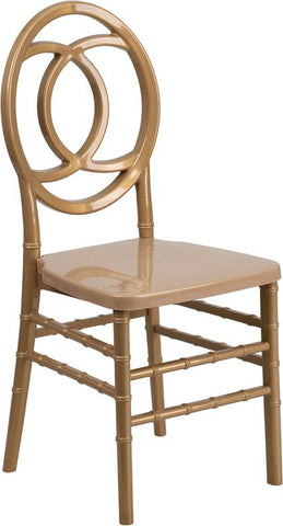Flash Furniture BH-ROYAL-GD-GG HERCULES INDESTRUCTO Series Gold Resin Royal Stacking Chair - Peazz Furniture - 1