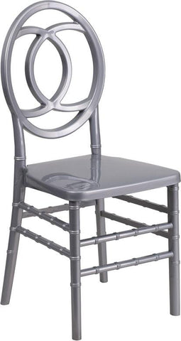 Flash Furniture BH-ROYAL-SIL-GG HERCULES INDESTRUCTO Series Silver Resin Royal Stacking Chair - Peazz Furniture - 1