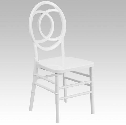 Flash Furniture BH-ROYAL-WH-GG HERCULES INDESTRUCTO Series White Resin Royal Stacking Chair - Peazz Furniture - 1