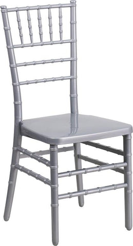 Flash Furniture BH-SILVER-GG HERCULES INDESTRUCTO Series Silver Resin Stacking Chiavari Chair - Peazz Furniture