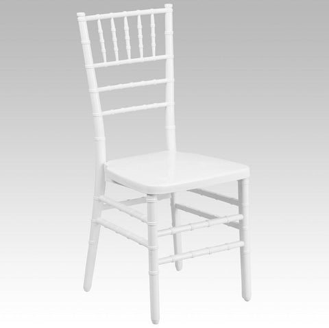 Flash Furniture BH-WHITE-GG HERCULES INDESTRUCTO White Resin Stacking Chiavari Chair - Peazz Furniture