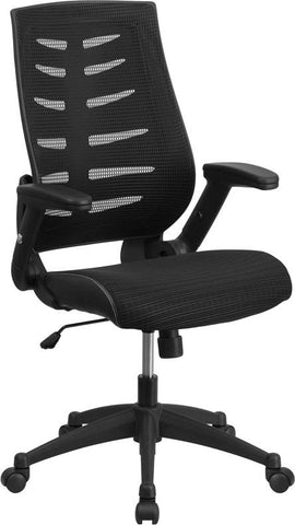 Flash Furniture BL-ZP-809-BK-GG High Back Black Designer Mesh Executive Swivel Office Chair with Height Adjustable Flip-Up Arms - Peazz Furniture - 1