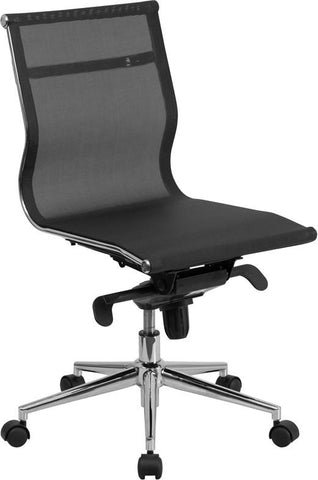 Flash Furniture BT-2768M-NA-GG Mid-Back Armless Black Mesh Executive Swivel Office Chair with Synchro-Tilt Mechanism - Peazz Furniture