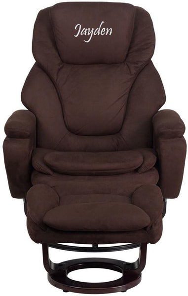 Flash Furniture BT-70222-MIC-FLAIR-GG Contemporary Brown Microfiber Recliner and Ottoman with Swiveling Mahogany Wood Base