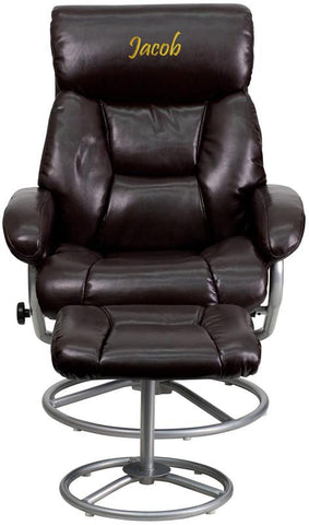 Flash Furniture BT-70230-BRN-CIR-TXTEMB-GG Personalized Contemporary Brown Leather Recliner and Ottoman with Metal Base - Peazz Furniture