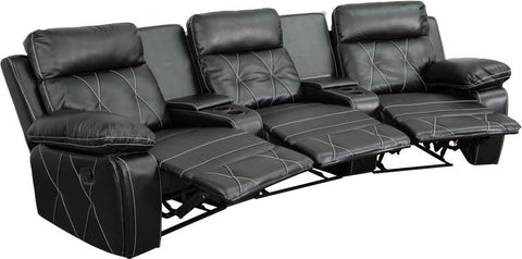 Flash Furniture BT-70530-3-BK-CV-GG Reel Comfort Series 3-Seat Reclining Black Leather Theater Seating Unit with Curved Cup Holders - Peazz Furniture - 1