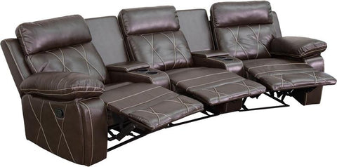 Flash Furniture BT-70530-3-BRN-CV-GG Reel Comfort Series 3-Seat Reclining Brown Leather Theater Seating Unit with Curved Cup Holders - Peazz Furniture - 1