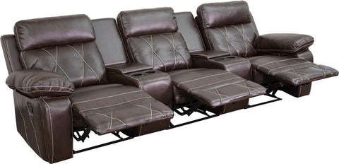 Flash Furniture BT-70530-3-BRN-GG Reel Comfort Series 3-Seat Reclining Brown Leather Theater Seating Unit with Straight Cup Holders - Peazz Furniture - 1