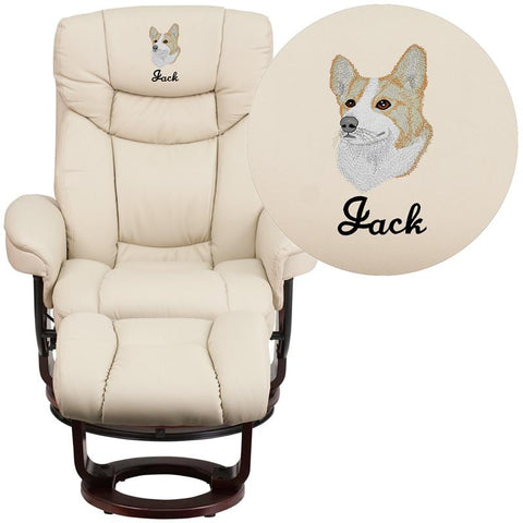 Flash Furniture BT-7821-BGE-EMB-GG Embroidered Contemporary Beige Leather Recliner and Ottoman with Swiveling Mahogany Wood Base - Peazz Furniture