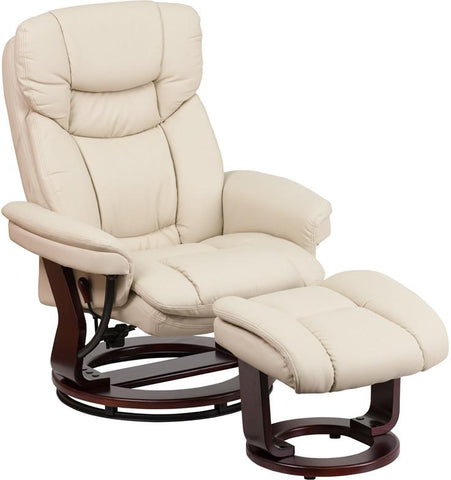 Flash Furniture BT-7821-BGE-GG Contemporary Beige Leather Recliner and Ottoman with Swiveling Mahogany Wood Base - Peazz Furniture - 1