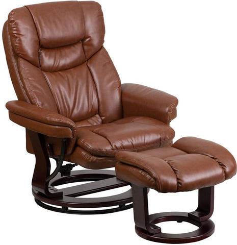 Flash Furniture BT-7821-VIN-GG Contemporary Brown Vintage Leather Recliner and Ottoman with Swiveling Mahogany Wood Base - Peazz Furniture - 1