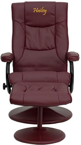 Flash Furniture BT-7862-BURG-TXTEMB-GG Personalized Contemporary Burgundy Leather Recliner and Ottoman with Leather Wrapped Base - Peazz Furniture
