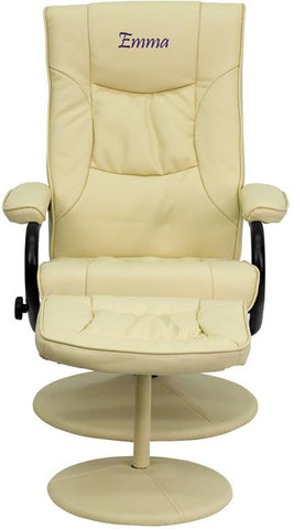 Flash Furniture BT-7862-CREAM-TXTEMB-GG Personalized Contemporary Cream Leather Recliner and Ottoman with Leather Wrapped Base - Peazz Furniture