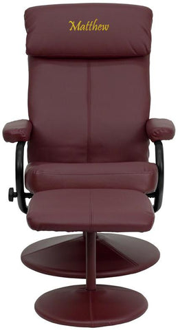 Flash Furniture BT-7863-BURG-TXTEMB-GG Personalized Contemporary Burgundy Leather Recliner and Ottoman with Leather Wrapped Base - Peazz Furniture