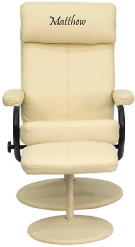 Flash Furniture BT-7863-CREAM-TXTEMB-GG Personalized Contemporary Cream Leather Recliner and Ottoman with Leather Wrapped Base - Peazz Furniture
