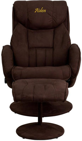 Flash Furniture BT-7895-MIC-PINPOINT-TXTEMB-GG Personalized Contemporary Brown Microfiber Recliner and Ottoman with Circular Microfiber Wrapped Base - Peazz Furniture