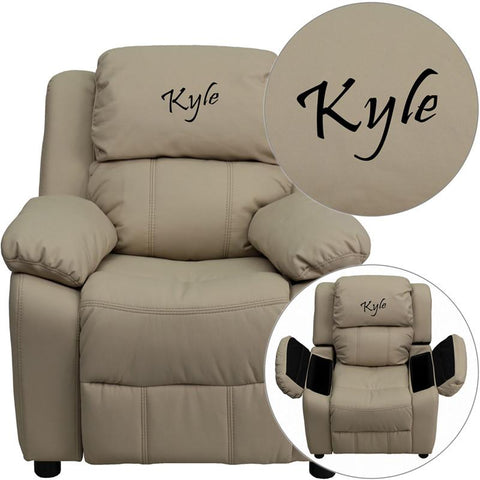 Flash Furniture BT-7985-KID-BGE-TXTEMB-GG Personalized Deluxe Padded Beige Vinyl Kids Recliner with Storage Arms - Peazz Furniture